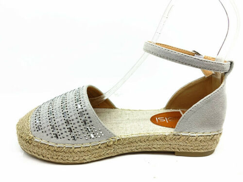 New Women Flat Ankle Strap Diamante Espadrilles Lady Comfy Sandal Holiday Shoes
