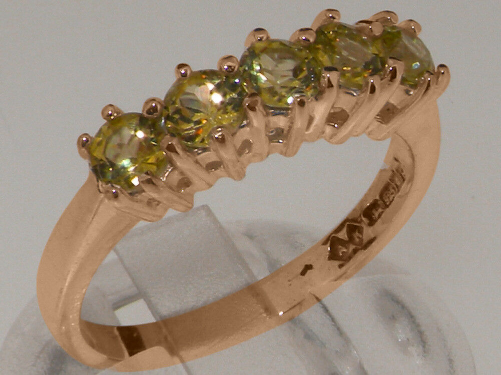 9ct pink gold Natural Peridot Womens Eternity Ring - Sizes J to Z