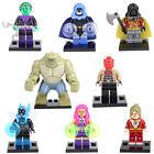 8PCS Minifigures Teen Titans Starfire Robin Raven Martian Croc fits Lego Toys