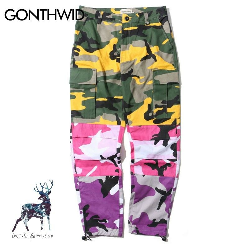 Tri color Camo Patchwork Cargo Pants Hip Hop Casual Camouflage Trousers Hot New