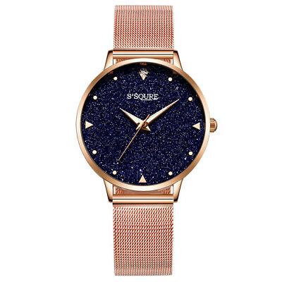 Alienwork Armbanduhr Damen Uhr Quarz Damenuhr Mädchen Edelstahl Milanaise-Armban