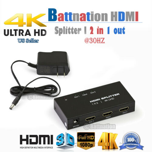 NEW 1×2 HDMI Splitter v1.4D View 4K 3D 1080p One Input to Two Output Top US Plug