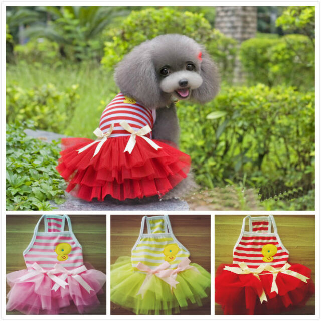 Summer Various Strip duck strapped Dress Pet Puppy Small Dog Cat Apparel Clothes