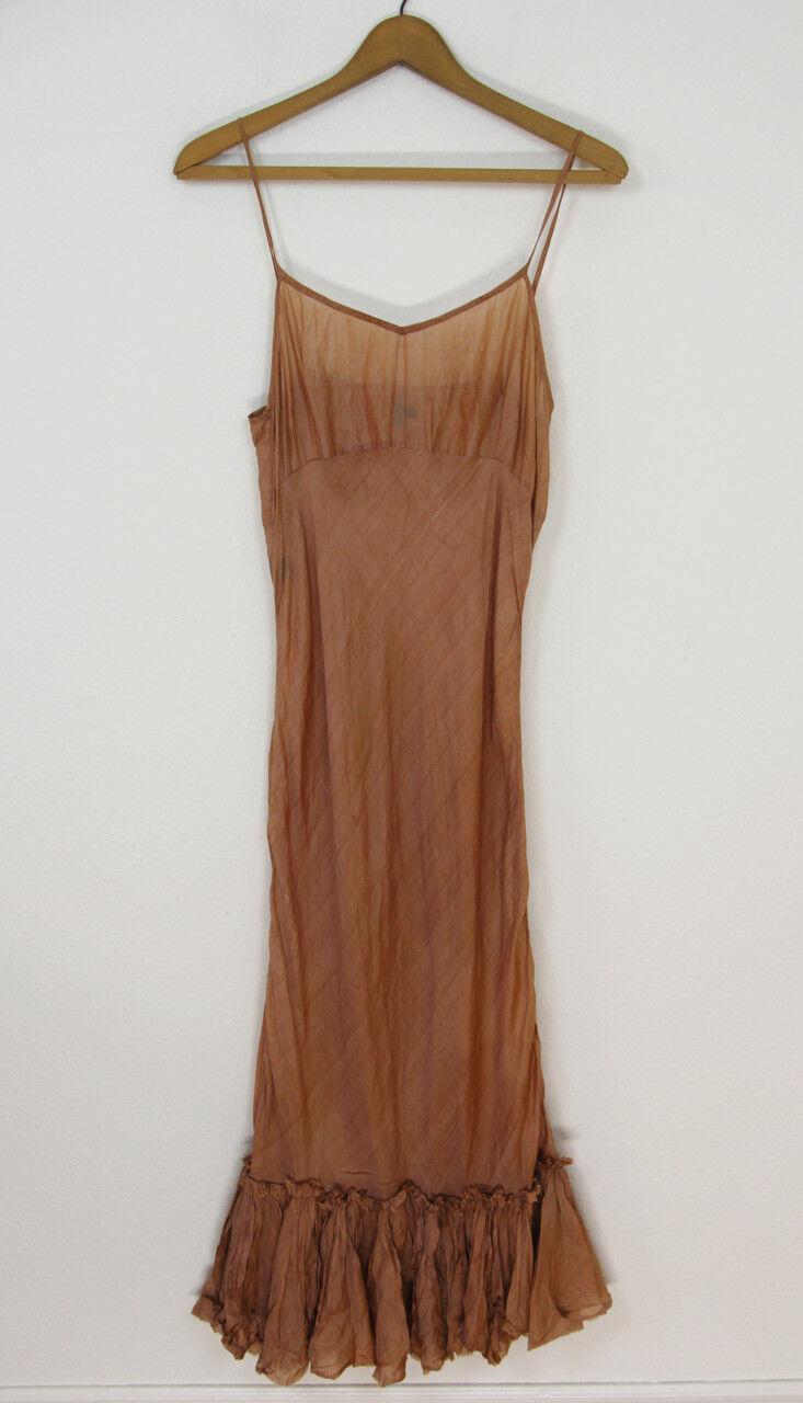 Marianne Kooimans Sz 2 Iridescent Coral-bluesh Silk Ruffled Hem Maxi Slip Dress
