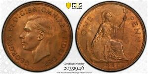 UK Great Britain 1951 Penny Cent PCGS MS65RB Scarce in Gem Condition!