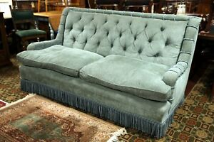 Details About Edwardian Large Sofa Blue Teal Upholstery Feather Cushions Free Uk Delivery