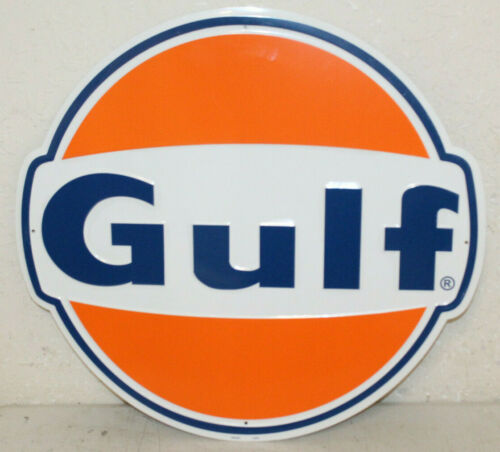 "Large Vintage Style 24/"" Gulf Gas Station Signs Man Cave Garage Decor Oil Can"