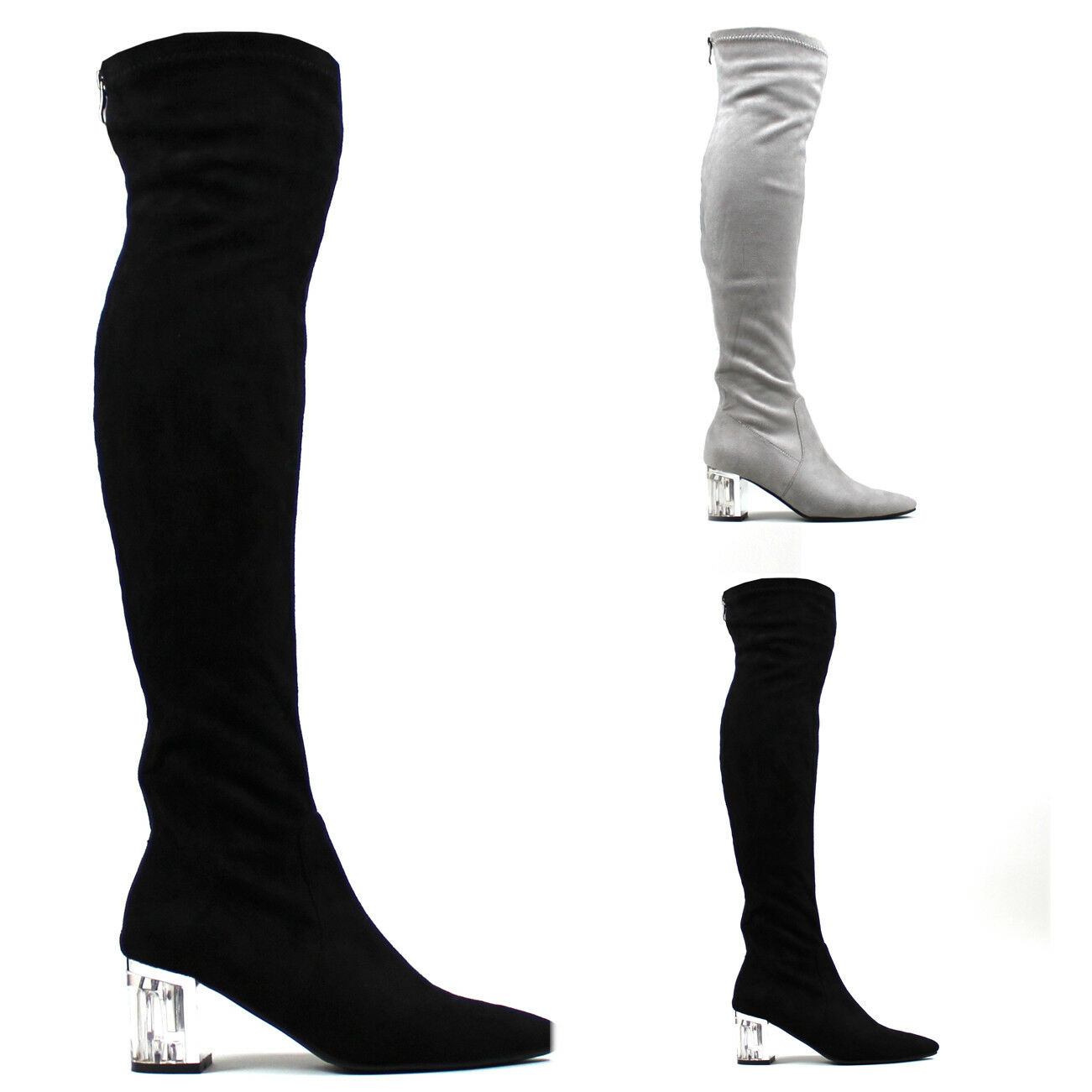 Womens Clear Pointed Toe Perspex Block Heel Sock Fit Thigh High Boots UK 3-10