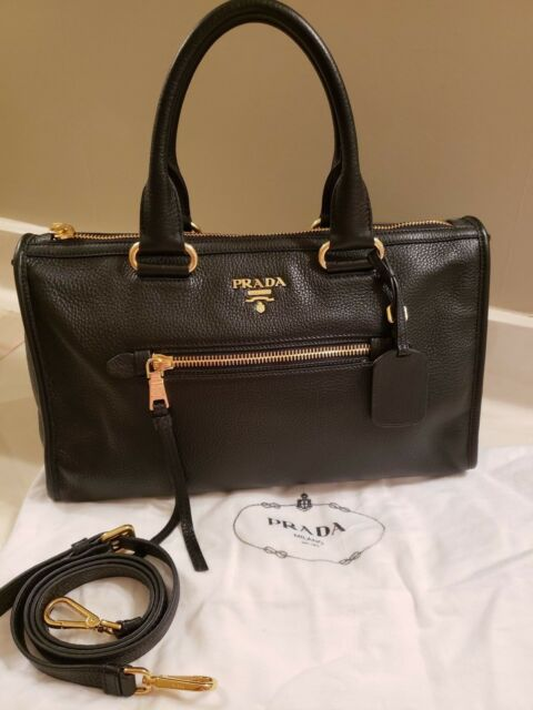 27f66b27405884 *🤩*PRADA**BAULETTO VITELLO DAINO NERO BLACK PEBBLED LEATHER SATCHEL TOTE,