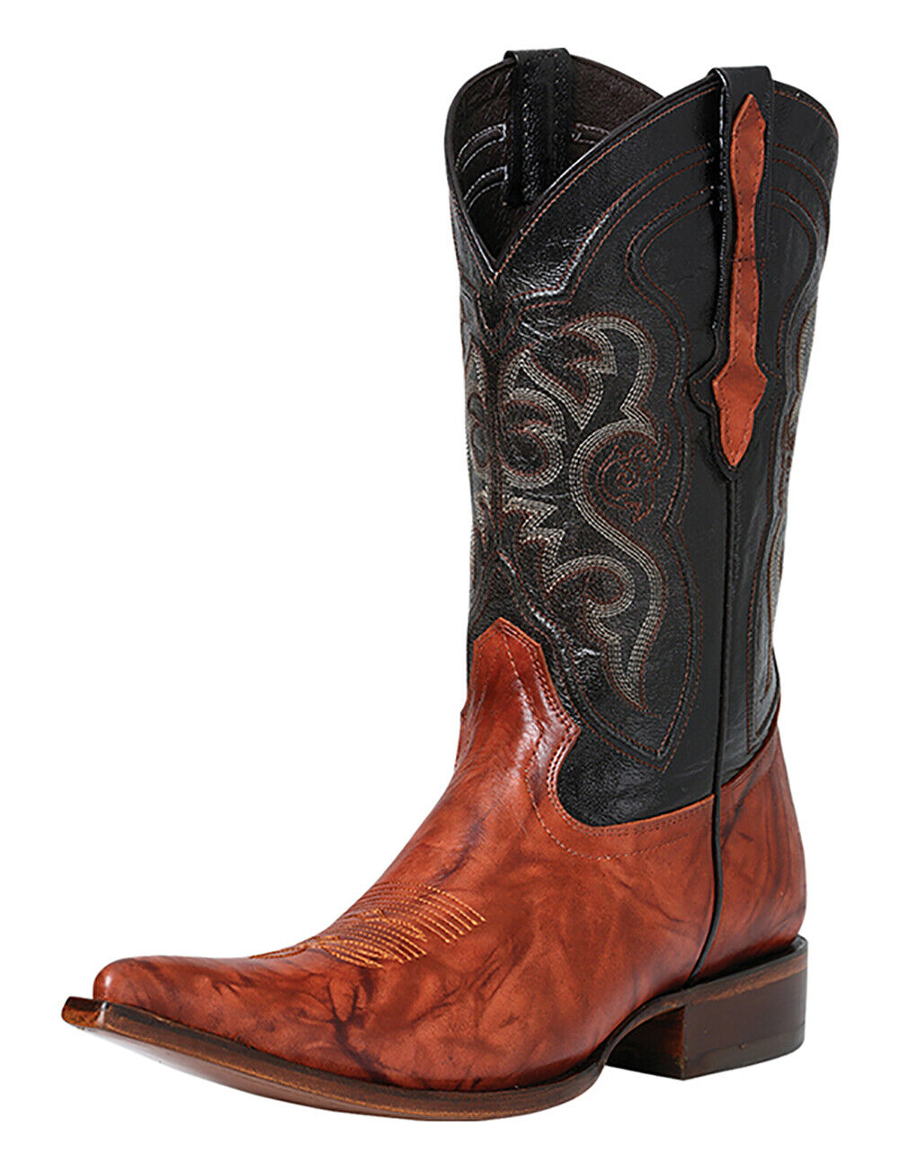 El General Western Cowboy Boots Real Leather Rust Color Pointed Toe