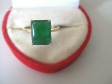 Vintage 14K Yellow Gold EMERALD Cut EMERALD Ring Size 6.5