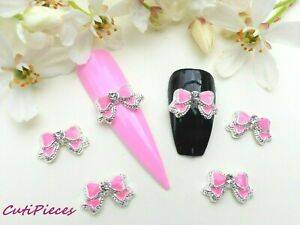 3D-Nail-Art-Valentines-Pink-amp-Silver-Rhinestone-Bow-Tie-Alloy-Metal-Decoration
