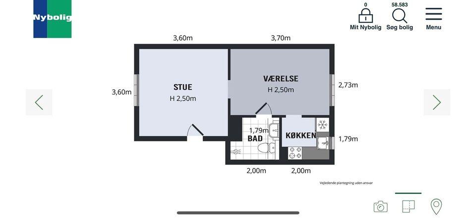 1902 2 vær. andelslejlighed, 47 m2, Lykkesholsms alle 34B 2