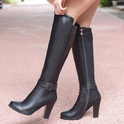 Ladies Shoes Synthetic Leather High Heels Zip Up Buckled Knee Boots US Size b243