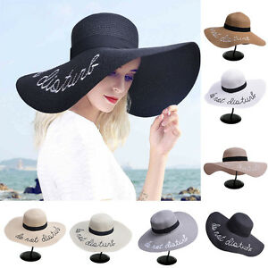 Hot Large Straw Hat Women s Wide Brim Summer Beach Sun Hat Holiday ... e763873582e