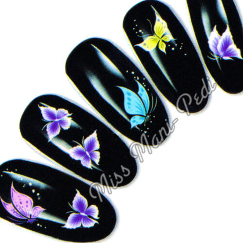 Nail Art Water Slide Transfers Stickers Decals Pastel Butterflies Wings Y011