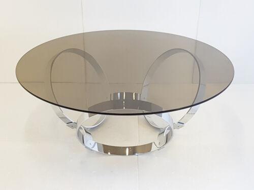 TABLE BASSE RONDE AUX ANNEAUX CHROME 1970 SPACE AGE VINTAGE 70S 70'S POP