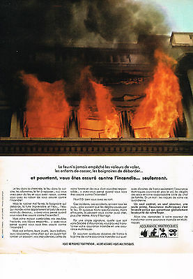 Publicite Advertising 1968 Assurance Multirisque Contre L'incendie Breweriana, Beer Other Breweriana