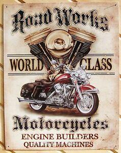 RoadWorks-Motorcycle-TIN-SIGN-vtg-harley-art-garage-metal-wall-decor-poster-1536