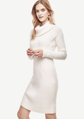 NWT ANN TAYLOR Ribbed  Sweater Dress  $149.00  Ivory Winter White  New