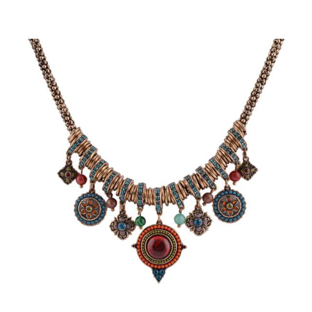 New Gypsy Ethnic Tribal Turkish Boho Chain Bid Necklace Tassel Pendant Fringe LE