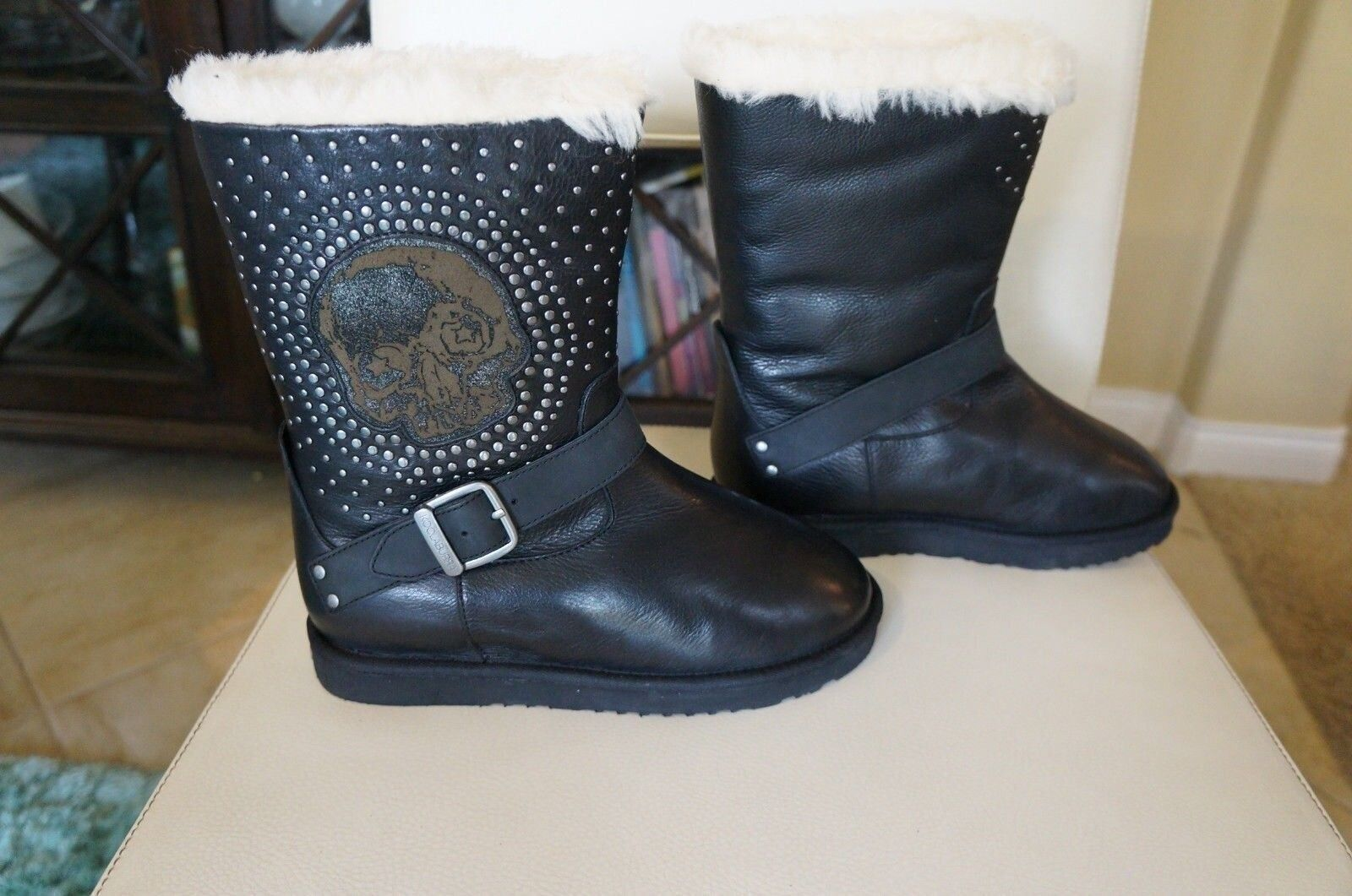 NEW KOOLABURRA Leather Helexa Moto Style 9  Tall Shearling Boots Black SZ 7  295