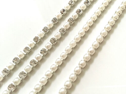 Sew or Glue on Diamante Chain With Pearl Design for Art /& Crafts 1M UK