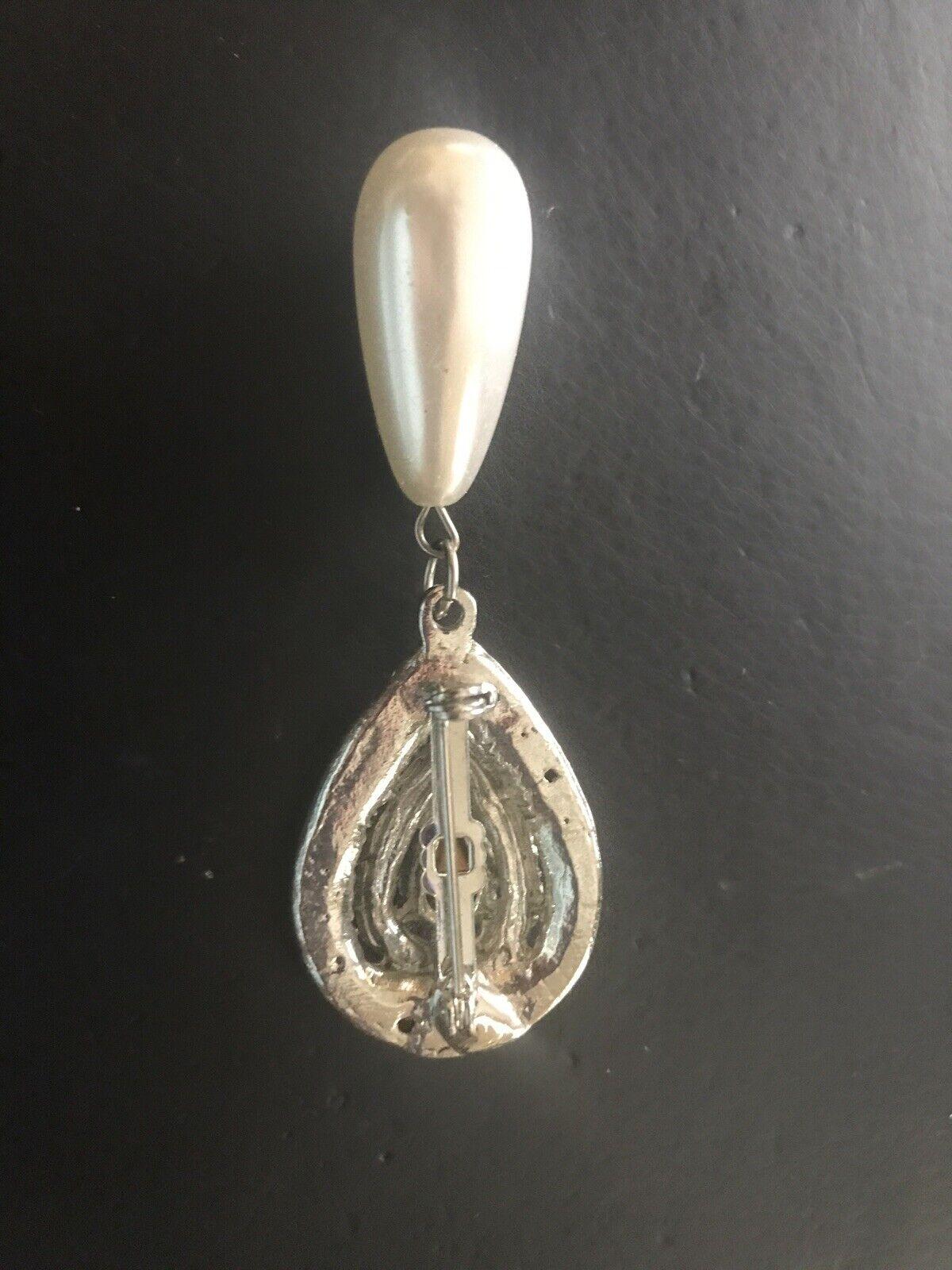 Crystal Pear Tear Rhinestone & Oblong Pearl Bead … - image 5
