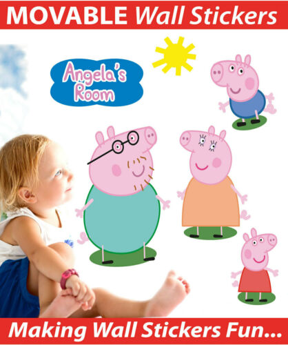 Details about  /PERSONALISED PEPPA PIG WALL DECALS ART STICKERS TOTALLY MOVABLE AND REUSABLE