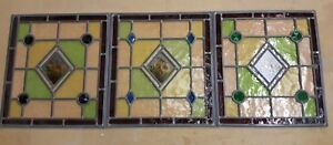 3-x-Stained-Glass-Hand-Painted-Flower-Panels-With-Raised-Faceted-Jewels