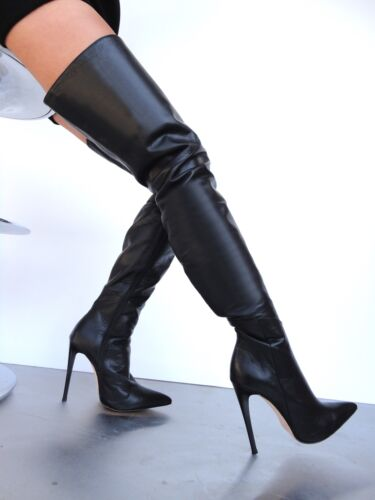 Couture Luxury Bottes Chaussures Overknee Stiefel Custom Noir Cq Leather zx7nwx