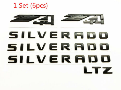 Matte Black Emblem Badge Nameplate Letters for SILVERADO 1500 Z71 4x4 Blackout 1