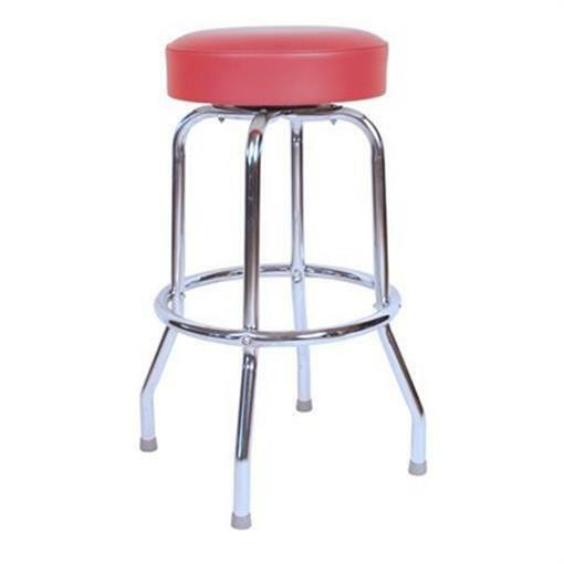 Richardson Seating Retro 1950s Backless Swivel Bar Stool With Red