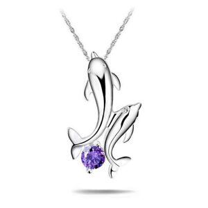 925er-Silber-Plattierte-Damen-Halskette-Collier-Anhaenger-2-Delfine-Zirkonia-NEU