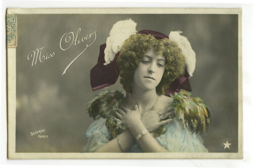 c1906 French Theater Dancer Music Hall OLIVER SHOWGIRL in costume photo postcard
