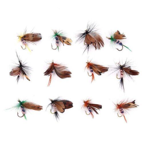 12 Stueck Schmetterling Design Trocken Fliegen Fischen Koeder Haken Zubehoer U3P