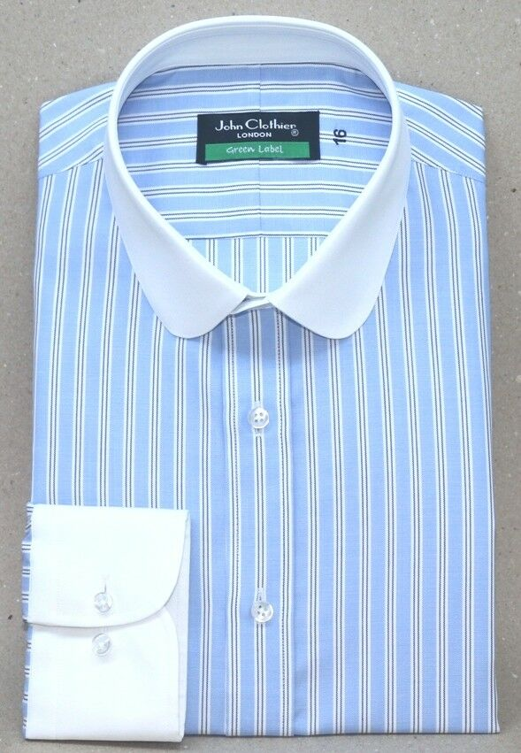 Peaky Blinders Sky bluee stripes Mens Penny collar shirts Gents Round Club collar