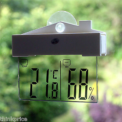Digital Window Thermometer Hydrometer Indoor Outdoor Weather Station Suction Cup
