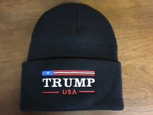eaa26228a30 Image is loading TRUMP-USA-AMERICA-FLAG-BEANIE-CUFFED-EMBROIDERED-BLACK-