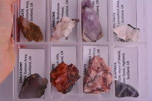 Set-of-8-SCOTTISH-MINERALS-Onyx-Amethyst-Chalcedony-Analcime-Stilbite-BOXED-SET2
