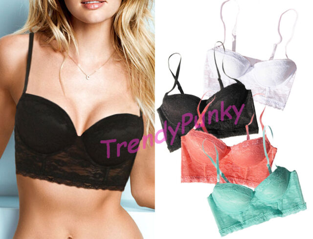 Floral Lace Bustier Crop Top PUSH UP Padded Bra Sheer Bralette Corset Shirt