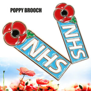 NHS Enamel Poppy Badges Crystal Pin Badge Brooches Valentines Day Gifts for Her