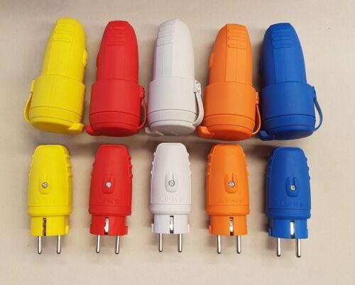 Schuko Gummistecker Stecker und Kupplung Set 230V IP44 mehrere Farben