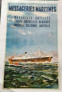 Affiche-vintage-034-Messageries-Maritimes-034-Paquebot-Caledonien-50-x-70cm-imp-France