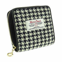 Harris Tweed Hand Woven Genuine Leather Womens Linda Black/white Check Zip Purse