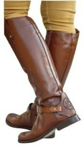 fc6e3355de7 NIB 550 Tory-Burch-Derby-Almond-leather-riding-boot-brown-logo ...