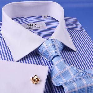 Thin Blue Stripe Formal Business Dress Shirt White Men/'s Classic French Cuff Top