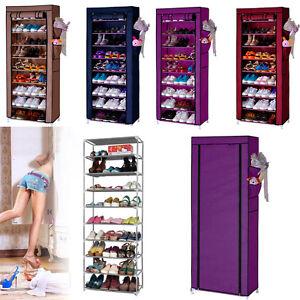 Portable Shoe Rack Shelf Storage Closet Organizer Cabinet 10 Layer 9 Grid Color