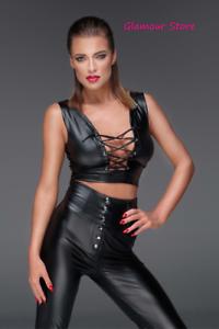 Sexy Maglia Top schwarz Power Wetlook Laccetti Cinghie Regolabili Fashion GLAMOUR