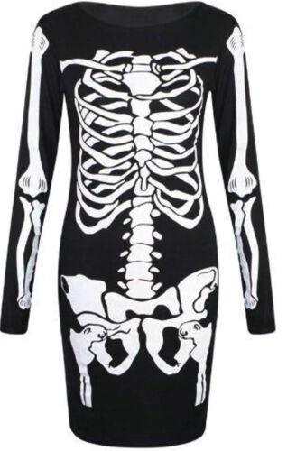 Ladies Halloween Skeleton Bones Dress Bodysuit Jumpsuit Leggings Plus Size 8-26